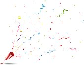 Vector Illustration of Exploding party popper on white background