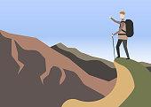 Explorer concept. Hiker in mountains. landscape Vector illustration. Eps 10