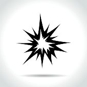 Illustration of explosion icon on white background
