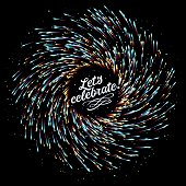 Abstract composition in the form of explosion of fireworks on a dark background. Empty place for text. Multicolored lights and flicker of particles. Glow effect. Holidays and congratulations. Vector.