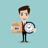 Express Cargo Delivery Icon.Time management and special delivery for businessman. Business character holding cardboard box and clock . Isolated on white background. Stock vector illustration