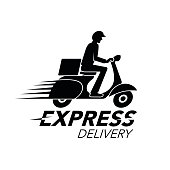 Express delivery icon concept. Scooter motorcycle service, order, worldwide shipping. vector illustration.