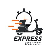 Express delivery icon concept. Scooter motorcycle with stop watch icon for service, order, fast, free and worldwide shipping. Modern design vector illustration.