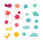 Expressive watercolor splashes. Stain vector collection, blue yellow pink purple red colors
