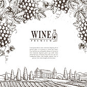exquisite winery poster design in realistic hand drawn style