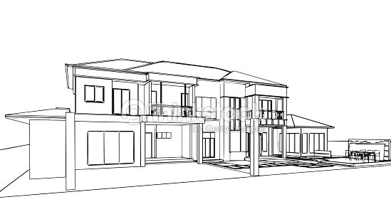 Exterior outline sketch drawing perspective of a space for Exterior house drawing
