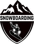Extreme. Emblem with snowboarder. Design element for label, emblem, sign. Vector illustration