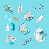 Eye care and health, vector 3d isometric icons set. Contact lenses, glasses, ophthalmology medical equipment flat illustration.