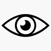 Minimalistic flat black stylish button with eye icon.