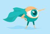 Cartoon illustration of eye super hero forecasting future