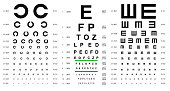 Eye Test Chart Placard Banner Card Set with Latin Letters and Shape Graphics Concept for Ophthalmic Visual Examination. Vector illustration