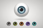 Eyeball and colored irises, natural and unnatural colors