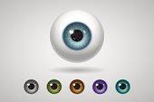 Eyeball and colored irises, natural and unnatural colors