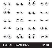 Eyeball emotions vector set on white background