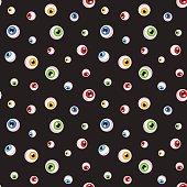 Eyeballs seamless texture on black background. Spooky Halloween pattern vector illustration.