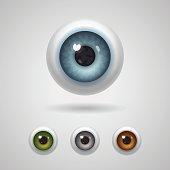 Eyeballs with big irises of blue, green, gray and hazel colors