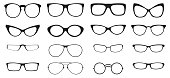 Eyeglasses silhouette set, collection of black silhouettes on white background