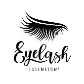 Eyelash extension icon. Vector illustration of lashes. For beauty salon, lash extensions maker.