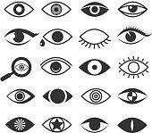 Eyes eye vision vector icons set. Eyeball and eyesight, optical logo collection illustration