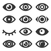 Eyes Icon Set on White Background. Vector