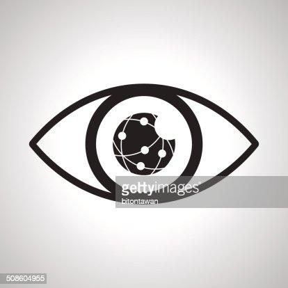 Ojo mirando a través de la red : Arte vectorial