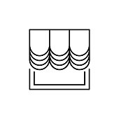 Fabric curtain with drapery. Vector illustration. Line icon of austrian shade. Element of home & office window decoration. Isolated object on white background.
