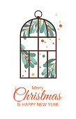 Vector House Christmas plants. fabulous winter greenhouse with collection of hand draw mistletoes and berries. Merry Christmas and Happy New Year card