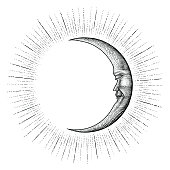 Face in Moon with sparkle hand drawing vintage engraving money line detail style for tattoo