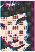 Detalle del rostro de una joven modelo japonesa dibujada a línea en estilo pop-art, cuyo tono negro surge de la intersección de los colores primarios (cyan, yellow, magenta) que simulan un desajuste e