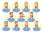 Face of man. Vector set. Character of various expressions bearded man