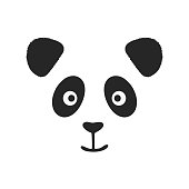 Face of smiling panda with fluffy ears. Print, logo, sketch. Vector illustration.