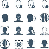 Face recognition safety software line icons. Faces and iris biometrics detection, facial laser scanning vector symbols. Illustration of scan face software, identify human
