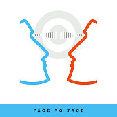 Face to Face, Dialogue, Common Goal Related Flat Style and Thin Line Icon, Vector Illustration. Cooperation to Achieve a Common Goal.
