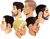 vector illustration of faces men in profile