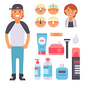 Facial care skin problems icons clean humancosmetic pimple dermatology instability facial care teenager defects elements vector illustration.