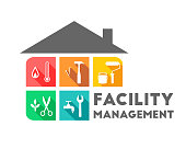 Facility management concept with building and working tools in flat design