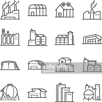 Factory and industrial vector line icon set. Included the icons as factory, silo, warehouse, workshop and more : Vector Art