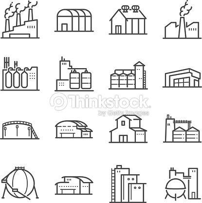 Factory and industrial vector line icon set. Included the icons as factory, silo, warehouse, workshop and more : stock vector