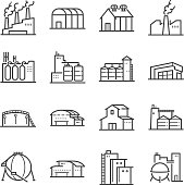 Factory and industrial vector line icon set. Included the icons as factory, silo, warehouse, workshop and more