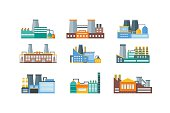 Factory or Industrial Building Flat Design Style Set. Vector illustration