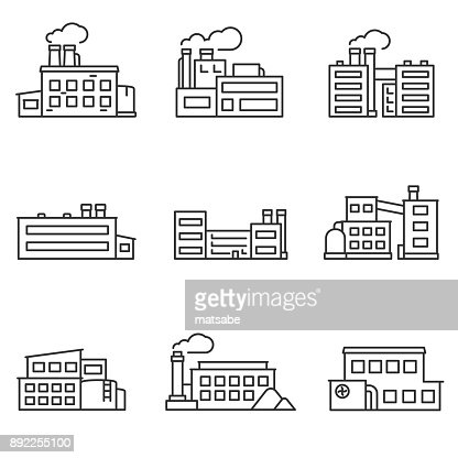 factory icons set. Line with editable stroke : arte vettoriale