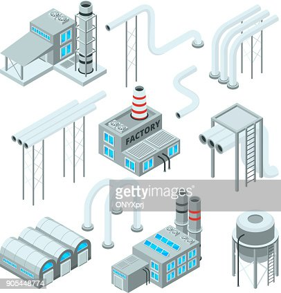 Factory pipe and set of industrial buildings. Isometric style pictures : Arte vettoriale