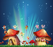 Fairies flying over mushroom houses illustration