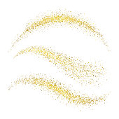 Fairy christmas golden stardust. Glamour gold waves with glittering stars isolated on white background vector set. Sparkle golden shimmer, shiny glow magic dust illustration