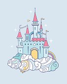 vector magic cute baby fairy cloud castle in cartoon style