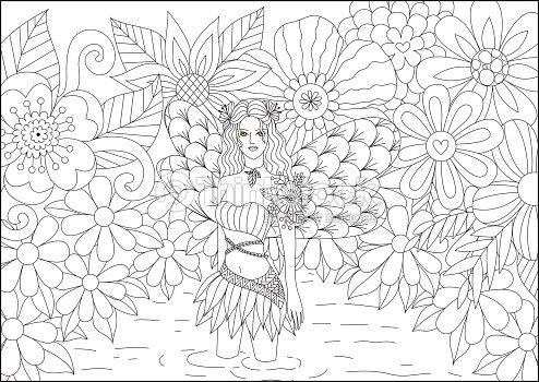 Coloriage Feerique Adulte.Bassin Fee En Ligne Art Conception Pour Livre De Coloriage Pour