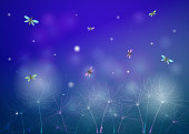 fairy summer night with fireflies, glade silhouette at night, fireflies in the  summer dream background, vector,