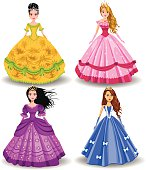 vector fairy tale doll princesses isolated on a white background