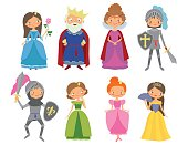 Fairy tale. King, Queen, Knights and Princesses. Cartoon vector illustration