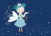 Cute fairy tale sending stars illustration background
